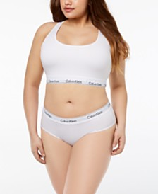 Calvin Klein Plus Size Unlined Bralette, Hipster & Thong