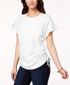 Style & Co Cotton Pleated Ruched T-Shirt, Created for Macy's