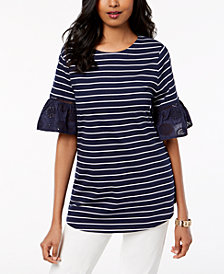 Charter Club Striped Eyelet-Cuff Top, Created for Macy's