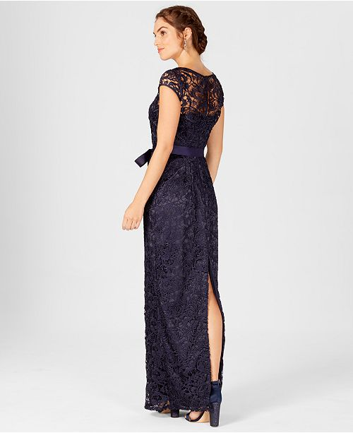 ... Adrianna Papell Cap-Sleeve Illusion Lace Gown ...