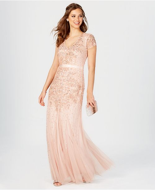 Adrianna Papell Cap Sleeve Embellished Gown Dresses Women Macys