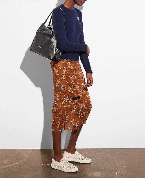 COACH Edie Shoulder Bag 31 In Metallic Leather - Handbags ... 5edf1641bb