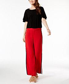 I.N.C. Ruffled-Sleeve Top & Wide-Leg Pants, Created for Macy's
