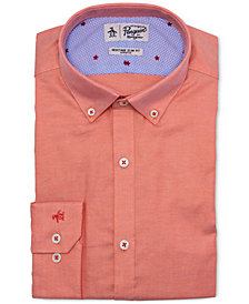 Original Penguin Men's Heritage Slim-Fit Stretch Medium Orange Dress Shirt