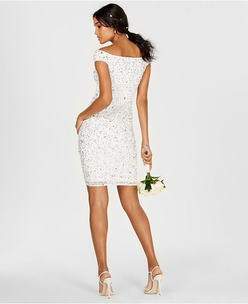 Adrianna Papell Off The Shoulder Beaded Sheath Dress Dresses