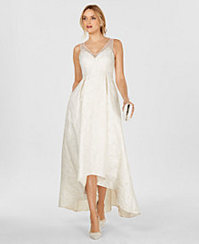 Adrianna Papell Sleeveless Jacquard High-Low Gown