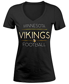 5th & Ocean Women's Minnesota Vikings Foil V-Neck T-Shirt