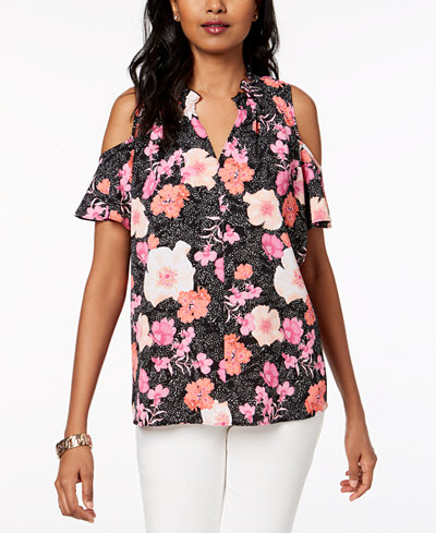 Charter Club Printed Cold-Shoulder Top, Created for Macy's