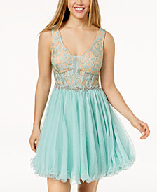 City Studios Juniors' Embellished Lace Corset Fit & Flare Dress