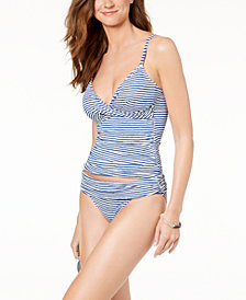 Lauren Ralph Lauren Striped Tummy-Control Tankini Top & Banded-Waist Bottoms