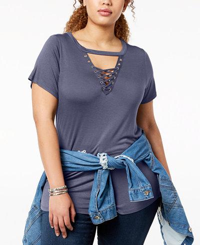 ABASIX Trendy Plus Size Choker T-Shirt