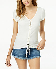 Freshman Juniors' Lace-Up Rib-Knit T-Shirt