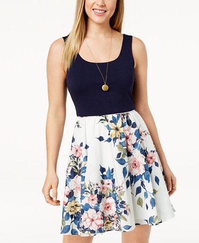City Studios Juniors' Solid & Floral-Print Dress
