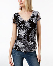 I.N.C. Floral Ruched Mesh V-Neck Top, Created for Macy's