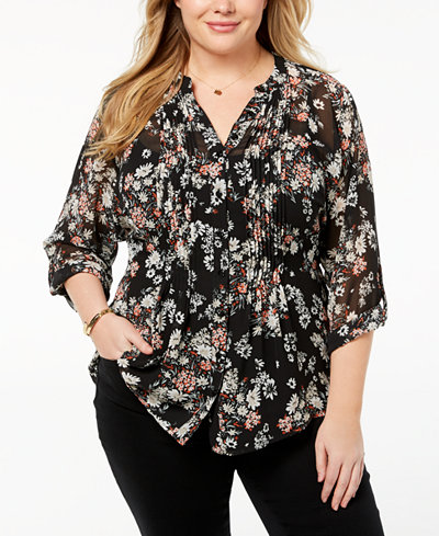 Style & Co Plus Size Floral-Print Pintuck Top, Created for Macy's