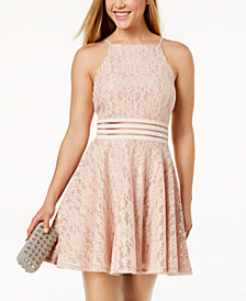 City Studios Juniors' Lace Illusion Fit & Flare Dress