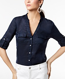 INC Linen-Blend Utility Shirt, Created for Macy's