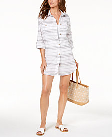 Dotti Havana Cotton Striped Shirtdress Cover-Up