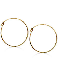Jody Coyote Hammered Hoop Earrings in 12k Gold-Filled Metal