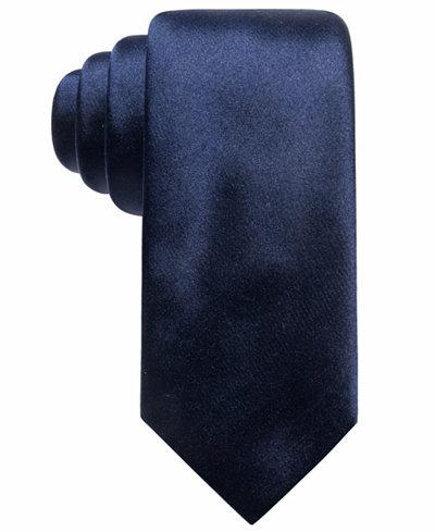 Alfani Men's Satin Solid Slim Silk Tie, Created for Macy's