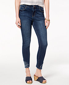 Style & Co Petite Embroidered-Hem Jeans, Created for Macy's