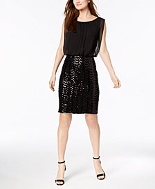 Calvin Klein Sequined Mesh Dress