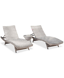 Trevor Outdoor Chaise & Wicker Table 3-Pc. Set, Quick Ship