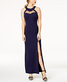 Speechless Juniors' Illusion Strappy-Back Gown, Created for Macy's