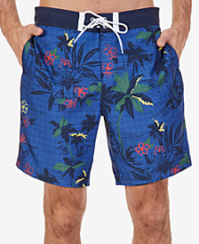 "Nautica Men's Quick-Dry Tropical-Print 8"" Swim Trunks"