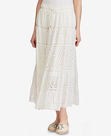 Lauren Ralph Lauren Floral-Eyelet Cotton Maxiskirt