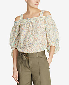 Lauren Ralph Lauren Off-The-Shoulder Cotton Top, Created for Macy's