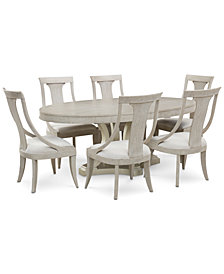 Rachael Ray Cinema Round Dining Furniture, 7-Pc. Set (Expandable Dining Table & 6 Sling Back Chairs)