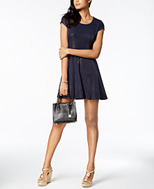 MICHAEL Michael Kors Metallic-A-Line Shift Dress, Regular & Petite, Created for Macy's