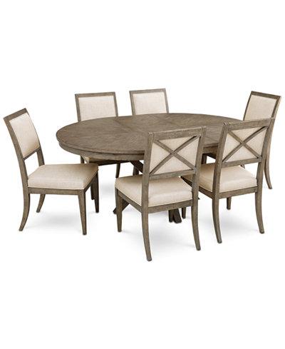Bridgegate Round Expandable Dining Furniture, 7-Pc. Set (Dining Table & 6 Upholstered Side Chairs)