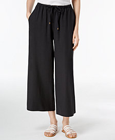Eileen Fisher Silk Wide-Leg Cropped Pants, Regular & Petite
