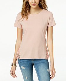 American Rag Juniors' Lace-Up T-Shirt, Created for Macy's