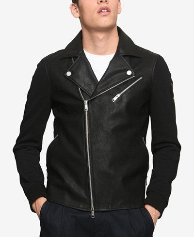 Armani Exchange Men's Faux-Leather Moto Jacket