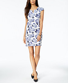 Connected Petite Floral-Print Sheath Dress