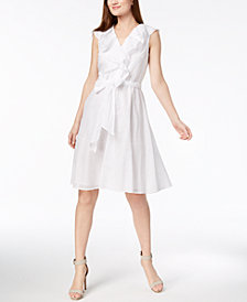 Calvin Klein Cotton Ruffled Wrap Dress
