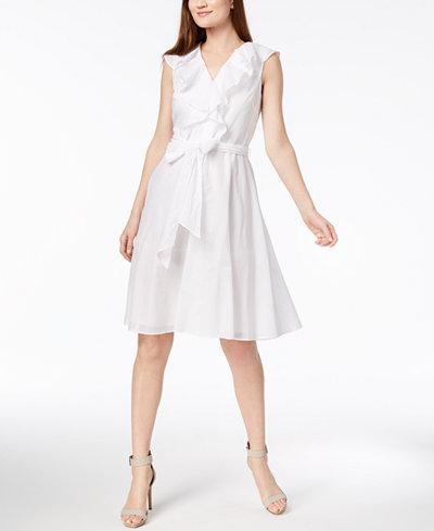 Calvin Klein Cotton Ruffled Wrap Dress