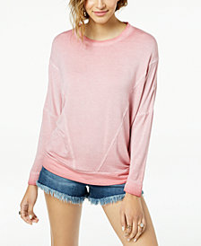 Hippie Rose Juniors' Weathered-Wash Pullover Sweatshirt