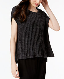 Eileen Fisher Organic Cotton Ribbed-Knit Poncho Sweater