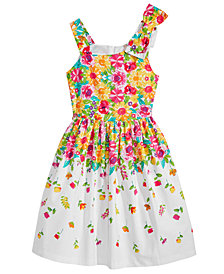 Bonnie Jean Bow-Shoulder Floral-Print Dress, Big Girls
