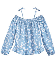 Epic Threads Butterfly-Print Peasant Top, Big Girls, Created for Macy's