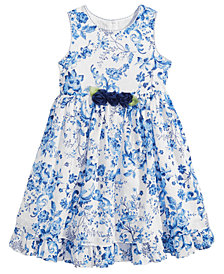 Marmellata Floral-Print Clip-Dot Dress, Little Girls