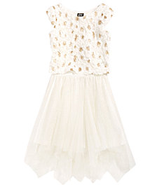 Pink & Violet 2-Pc. Sequin Soutache Top & Glitter Mesh Skirt Set, Big Girls
