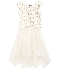 Pink & Violet 2-Pc. Sequin Soutache Top & Glitter Mesh Skirt Set, Big Girls