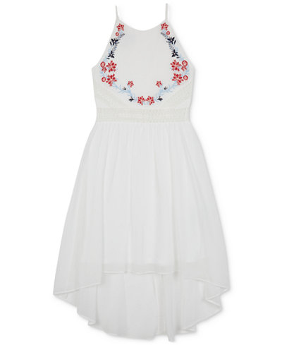BCX Embroidered High-Low Hem Dress, Big Girls