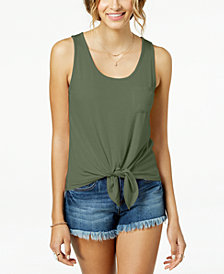 Pretty Rebellious Juniors' Tie-front Pocket Tank Top