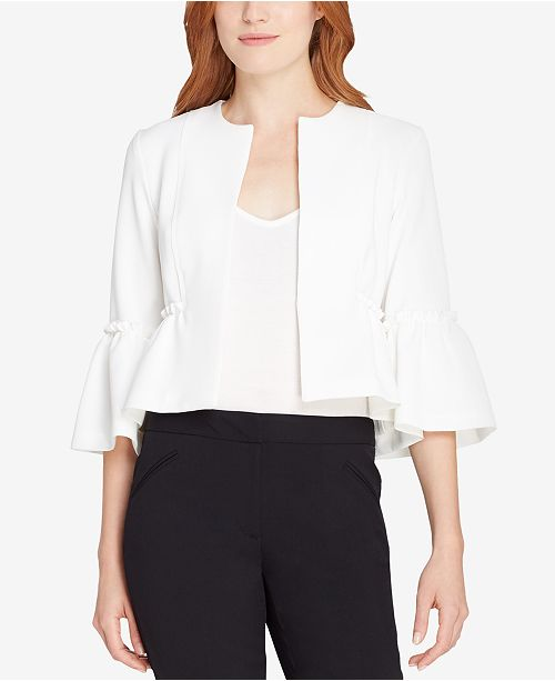 Tahari ASL Collarless Peplum Jacket